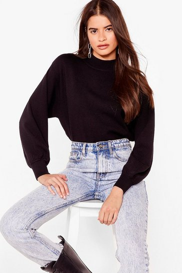 Black Over the Balloon Sleeve Knitted Sweater