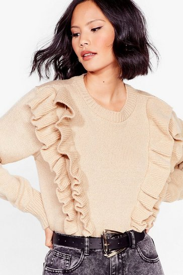 Mushroom We Frill Be There Ruffle Knit Sweater