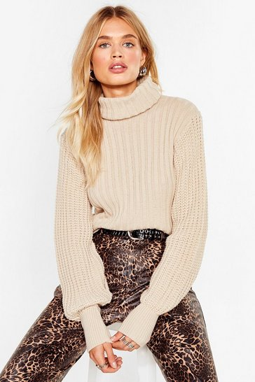 Oatmeal Do Knit Again Turtleneck Ribbed Sweater