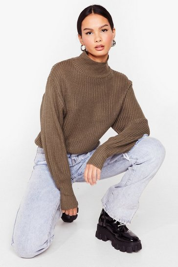 Khaki As Balloon As Possible Knitted High Neck Sweater