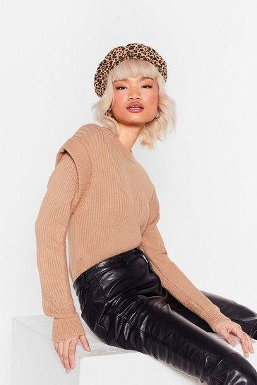 Stone They're Shoulder Pad News Ribbed Knit Sweater