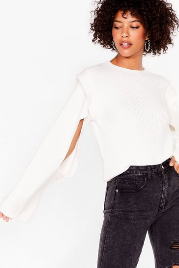 Cream Cut Out Sleeve Ribbed Knit Jumper
