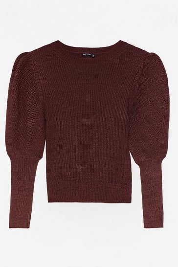 Chocolate Oh Knit's Happening Puff Sleeve Sweater
