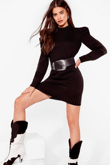 Black The Shoulder Goes On Knitted Mini Dress