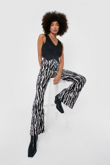 Blush You Herd Me Zebra Flare Pants