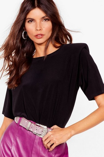 Black Crew Neck Shoulder Padded T-Shirt
