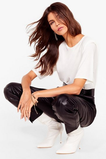 White Feelin' Myself Crew Neck Shoulder Pad Tee