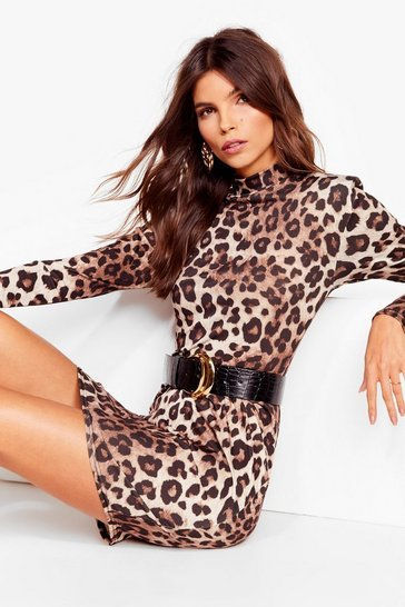 Tan True leopard built up shoulder mini dress