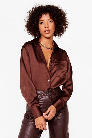Chemise oversize en satin Douce folie, Chocolate