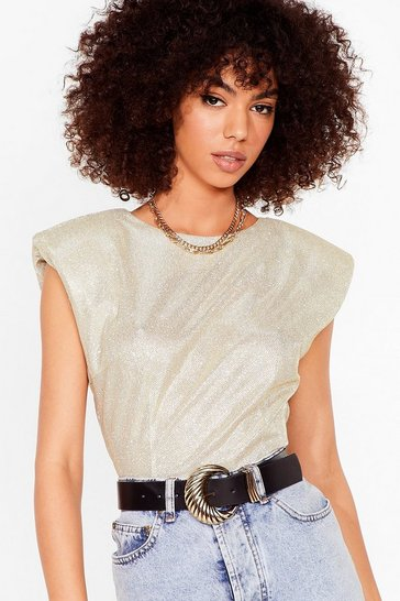 Gold Spark Their Interest Shoulder Padded Glitter Top