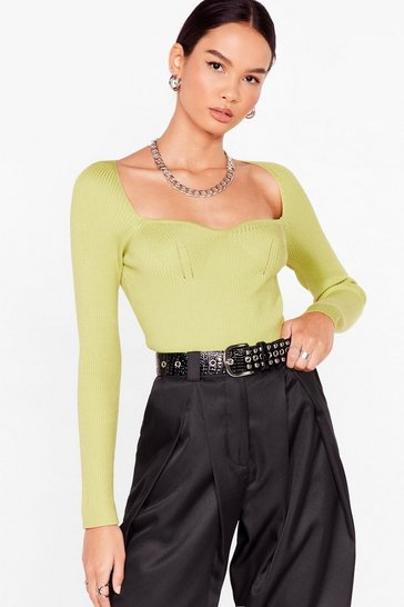 Lime Talking Body Knitted Square Neck Top