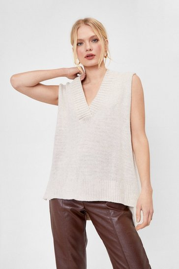 Cream Oversized V Neck Sweater Vest