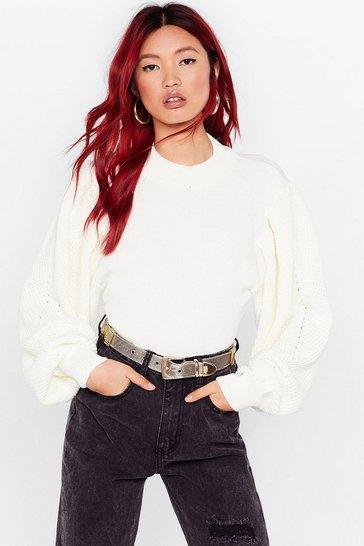 Cream Do Knit Naturally Balloon Sleeve High Neck Sweater