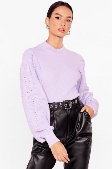Lilac Do Knit Naturally Balloon Sleeve High Neck Sweater