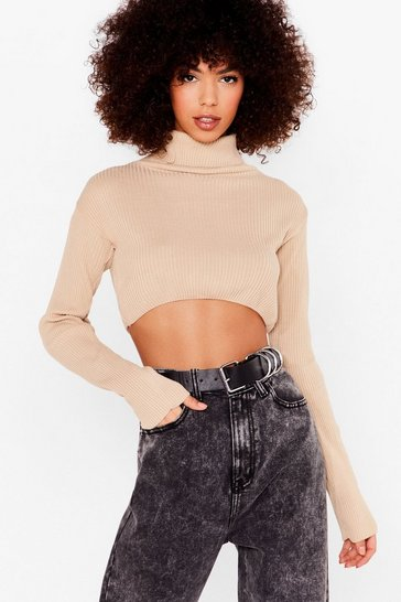 Stone Roll With Knit Cropped Turtleneck Sweater