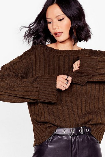 Khaki That's the Cuff Ribbed Knit Sweater