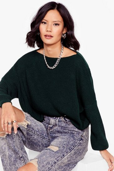 Green Hot On Your Tracks Cropped Knitted Sweater