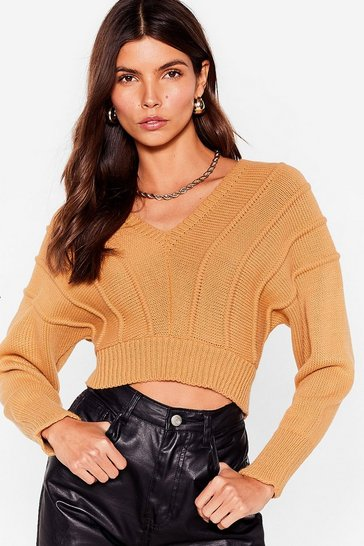 Camel Never Seam Anything Like Knit Cropped Sweater