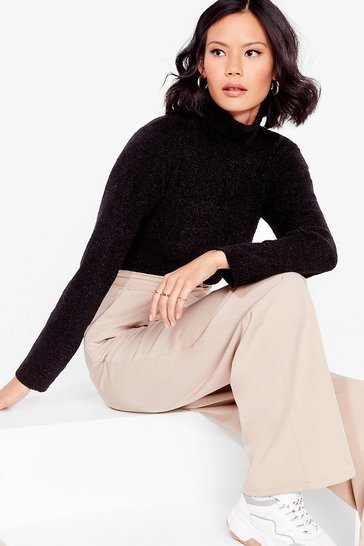 Black Roll With Knit Cropped Turtleneck Sweater