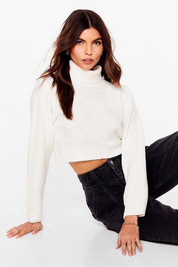 Cream Roll With Knit Cropped Turtleneck Sweater