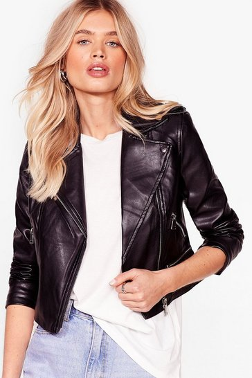Black Hello Moto Faux Leather Jacket
