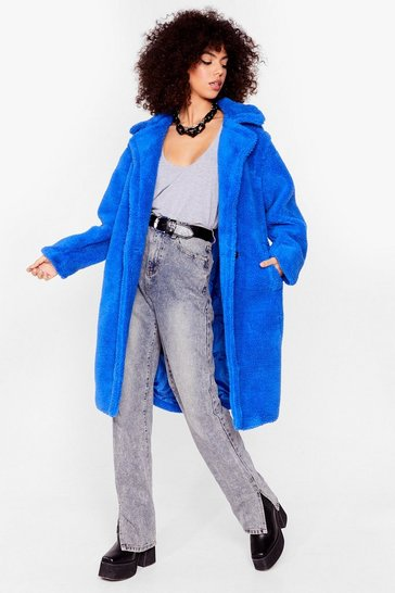 Blue Go Long Faux Fur Coat