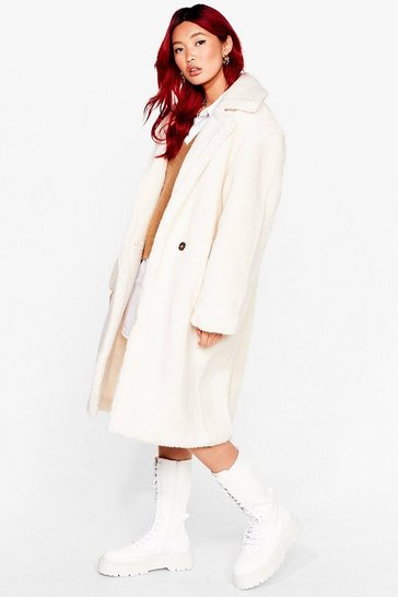 Cream Go Long Faux Fur Coat