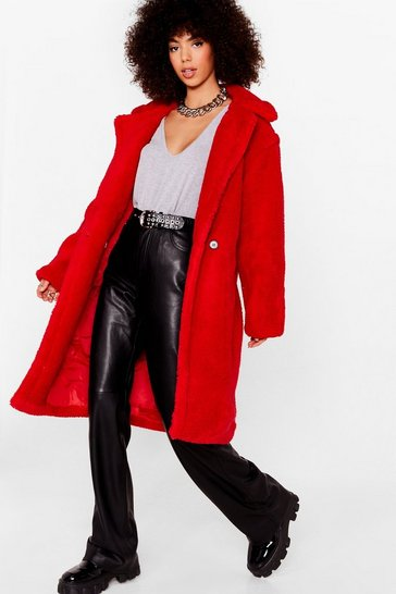 Red Go Long Faux Fur Coat