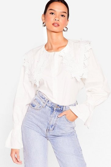 White Time to Lace the Music Ruffle Blouse