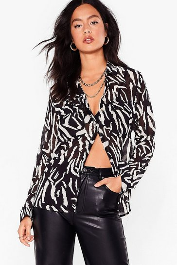 Black Herd Party Tonight Oversized Zebra Shirt