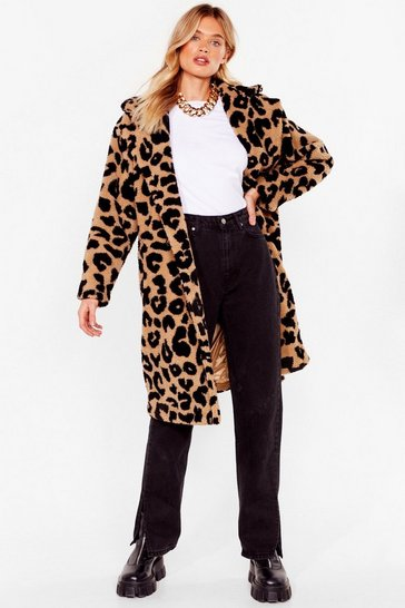 Stone Go Faux Fur It Leopard Longline Coat