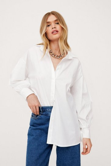 White Oversized Button Down Balloon Sleeve Shirt