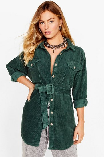 Green Going According to Plan Belted Longline Jacket