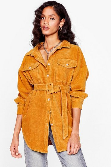 Mustard Going According to Plan Belted Longline Jacket