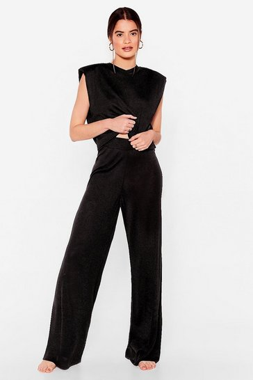 Black Knitted Tee and Wide Leg Pants Lounge Set