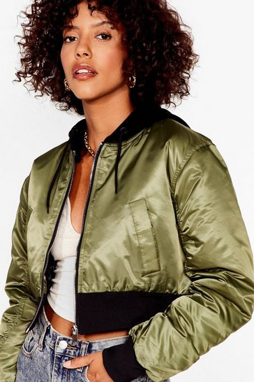 Khaki On Crop of the World Padded Bomber Jacket