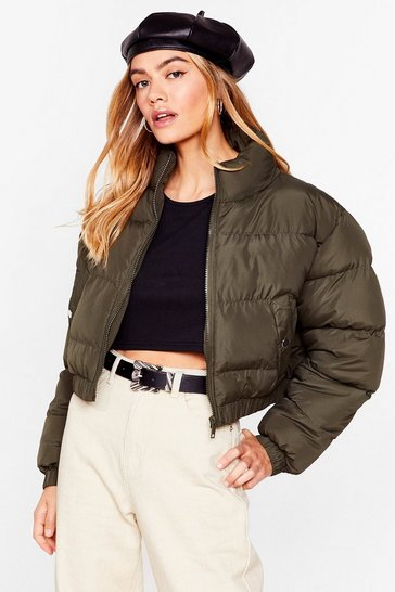 Khaki Crop 'N' Roll Padded Bomber Jacket
