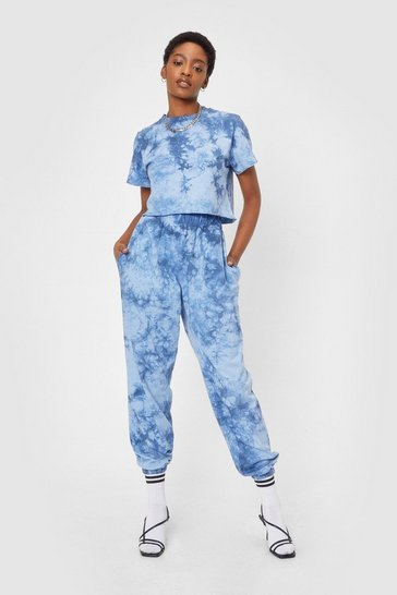 Blue We're Good Together Tie Dye Tee and Jogger Set