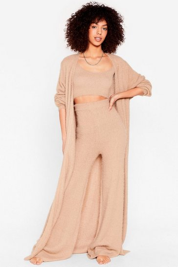 Oatmeal Knit's a Date 3-Pc Fluffy Lounge Set