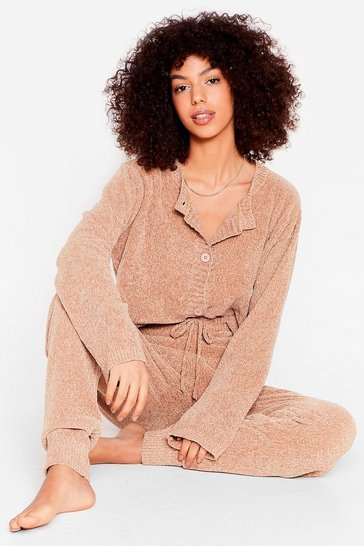 Tan I Chenille So Good Jogger Lounge Set