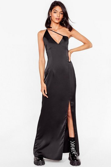 Black Give Us One Moment Satin Maxi Dress