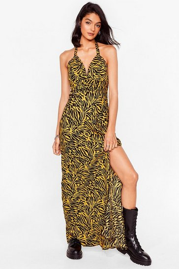 Yellow Halter the Ending Zebra Maxi Dress