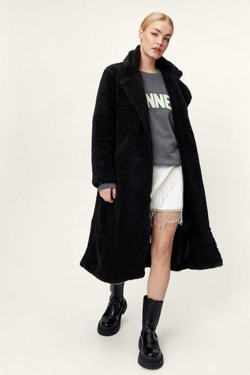 Black Troubles Belt Away Longline Trench Coat