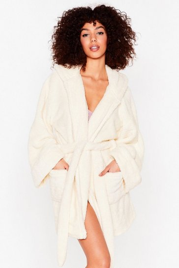 Cream Hit Pause Fluffy Knit Belted Robe