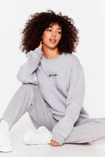 Grey Nasty Gal Word On the Street Graphic Sweatshirt