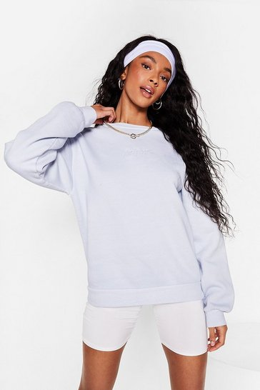 Pale blue Nasty Gal Word On the Street Graphic Sweatshirt