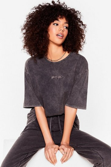 Washed black Nasty Gal Word on the Street Acid Wash Tee