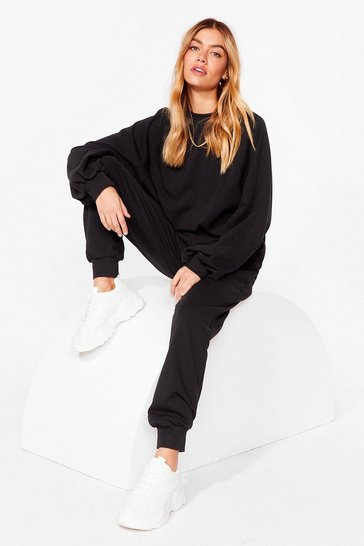 Black Just Chill Out Sweatshirt and Joggers Lounge Set
