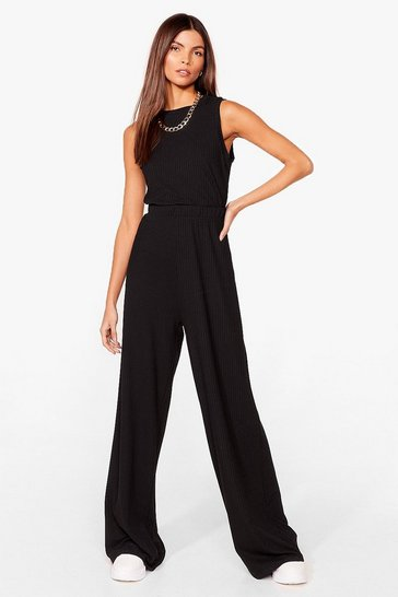Black Paired Up Crop Tank Top and Wide-Leg Pants Set