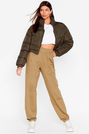 Olive Run With It High-Waisted Cuffed Joggers